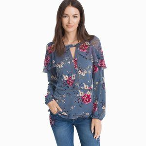 WHBM Slate Long Tiered Sleeve Floral Blouse sz S